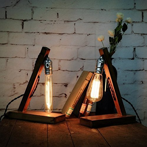 Loft Retro Wood E27 Edison Table Lamp Cafe Home Bar Decoration 0