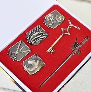 Attack on Titan Shingeki No Kyojin Badge+weapons+key Pendant Necklace Survey Corps Set
