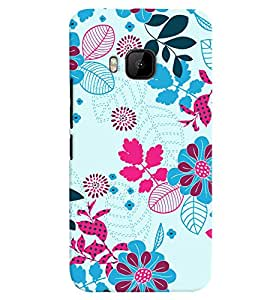 PrintVisa HTCOM9+-Corporate Print & Pattern Modern Art Floral Back Cover (Multicolor)