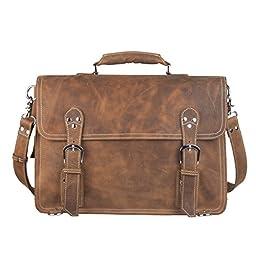 S-ZONE Vintage Crazy Horse Leather Briefcase Shoulder & Backpack