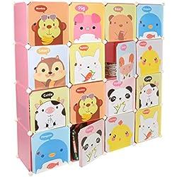 Kinder Kleiderschrank Garderoben Flur Dielen Schrank Regal Kinderschrank in Pink mit süßen Motiven