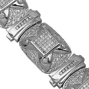 14K White Gold Mens Diamond Bracelet 13.58 Ctw