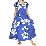 □■JB55158 袖フリル フラ ドレス フリー ロイヤルブルー(bl/wh)   フラ ドレス フラ 衣装 フラダンス フラドレス