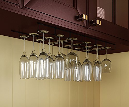 Stemware Glass Rack , Black - Wine Glass Hanger Under Cabinet Storage Bar or Kitchen by Rack and Hook (Wine Rack Hanger compare prices)