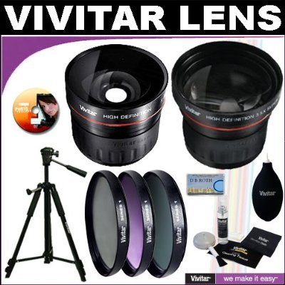 Vivitar Series 1 High Definition Wide Angle Fisheye 0.21x Lens + Vivitar Series 1 High Definition 3.5X Telephoto Lens + Vivitar Series 1 Multi-Coated 3 Piece Filter Kit (UV, CPL, FLD) Includes Nylon Filter Wallet + Deluxe SMART SHOP UK Vivitar Accessory K