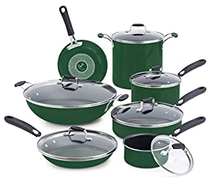 Emeril by All-Clad E413SDDI Hard Enamel Nonstick Cookware Set, 13-Piece, Green
