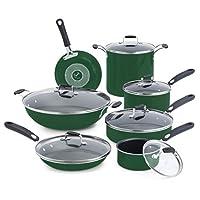 Emeril by All-Clad E413SDDI Hard Enamel Nonstick Cookware Set, 13-Piece, Green