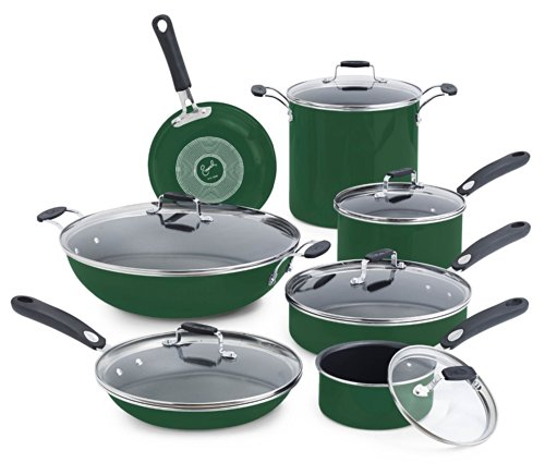 Emeril by All-Clad E413SDDI Hard Enamel Nonstick Dishwasher / Oven Safe Cookware Set, 13-Piece, Green