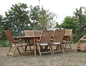 """New 7 Pc Luxurious Grade-A Teak Dining Set - 94"""" Oval Table And 6 Reclining Arm Chairs [Model:MR5]"""