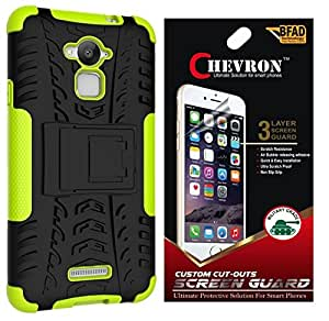 Chevron Tough Hybrid Armor Back Cover Case with Kickstand for Coolpad Note 3 with HD Screen Guard (Green)