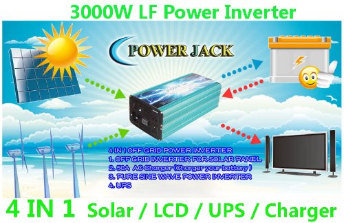 "3000 Watt Continual 12000 Watt Surge Low Frequency Pure Sine Wave Power Inverter Converter Transformer 12 V Dc Input / 220 V-240 V Ac Output 60 Hz Frequency With 50A Battery Charger Power Tools 4 In 1 Solar/3.5"" Lcd/Ups/Charger"