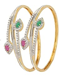 Zeneme American Diamond Red Green Gold Plated Wedding Bangles Jewellery For Women / Girls