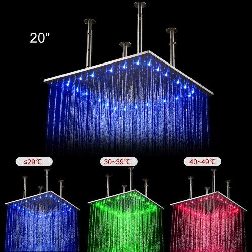 20 pollici soffione quadro in acciaio inossidabile - Illuminazione per doccia ...
