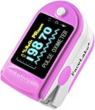 Facelake FL-350 Pulse Oximeter with Carrying Case, Batteries & Lanyard, Pink