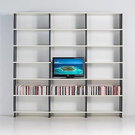 Libreria Modulare NIKKA componibile porta TV mobile da soggiorno mensole Fianchi Rossi scaffali Bianchi da cm. 270 x 258 h x 31
