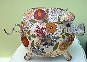 Large pig garden ornament quirky painted metal piggy for Quirky ornaments uk