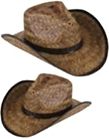 New Men's Women's Stained Brown Woven Straw Cowboy Hat