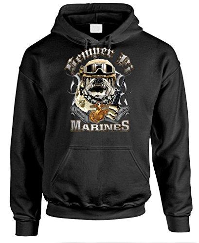 USMC MARINE CORPS BULLDOG semper fi fidelis - Mens Pullover Hoodie, L, Black (Bulldog Presents compare prices)