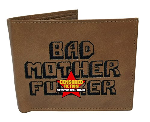 Pulp Fiction BMF Wallet [Embroidered or Embossed][BiFold] Bad Mother Fucker Mofo Samuel Jackson Costume (Light Brown)
