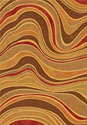 Area Rug, Multi Modern Abstract Stain Resistant Carpet, 6\' 7\