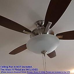 Frosted Glass Pull Chain LED Light Kit -- COOL WHITE (6000K), 3300lumens 17Watts. Complete LED Light KIT for Ceiling Fan, P/N: SPTL420LMF-CW+LIGHT KIT#85173