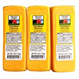 WISCONSIN CHEESE COMPANY - 100% Wisconsin CHEDDAR CHEESE Packages - (3) 4 oz - Great with Crackers