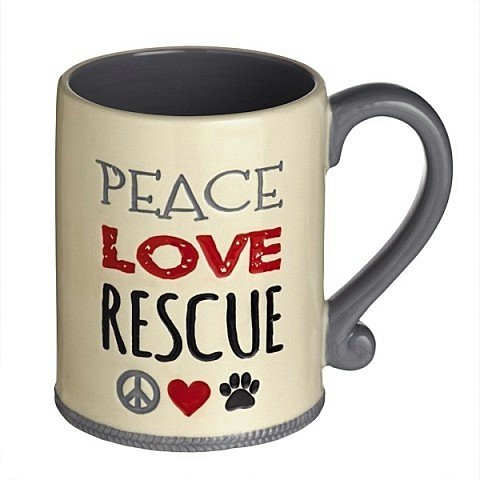 """Peace Love Rescue"" Ceramic Coffee Mug Paw Animal Pet Lover Gift Grasslands Road front-255182"