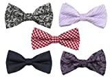 Bundle Monster Mens Tuxedo Solid Patterned Adjustable Neck Bowtie Bow Tie 5pc Assorted Lot Set - #4