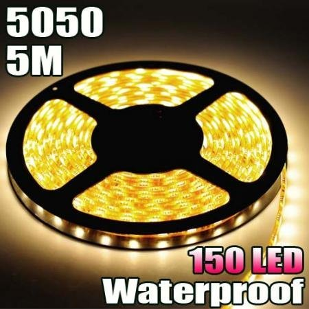 Waterproof Warm White Led Strip 5050 Smd 150Led 5 Meter Or 16 Feet Flexible Lamp Light 12V