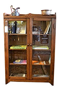 Crafters and Weavers Arts and Crafts Mission Solid Oak Bookcase China Cabinet