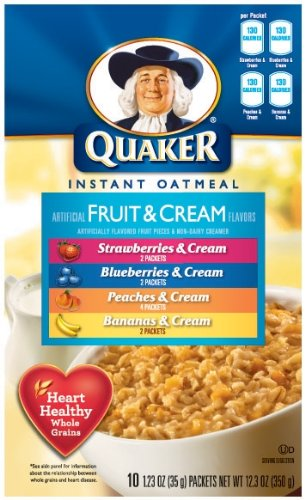 Quaker Instant Oatmeal Fruit & Cream, Variety Pack, 10-Count Boxes (Pack Of 6)
