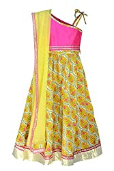 COTTON YELLOW AND MAJENTA LENGHA CHOLI