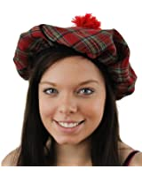 LADIES SCOTTISH TARTAN HAT FANCY DRESS ACCESSORY TAM O'SHANTER BURNS NIGHT HAT WITH GINGER HAIR SCOTLAND SCOT HAT