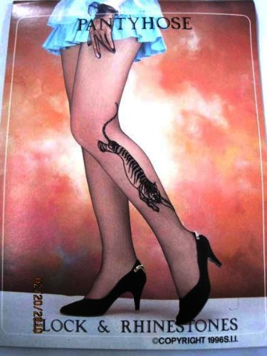 Flocking Pantyhose / Queen / Side Design, Tiger, Color: Coffee, - Case Pack 120 SKU-PAS1042602
