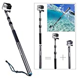 Smatree® SmaPole S3C Carbon Fiber Detachable and Extendable Floating Pole for GoPro Hero, Hero4, Hero4 Session, 3+, 3, 2, 1 HD Cameras (12.5