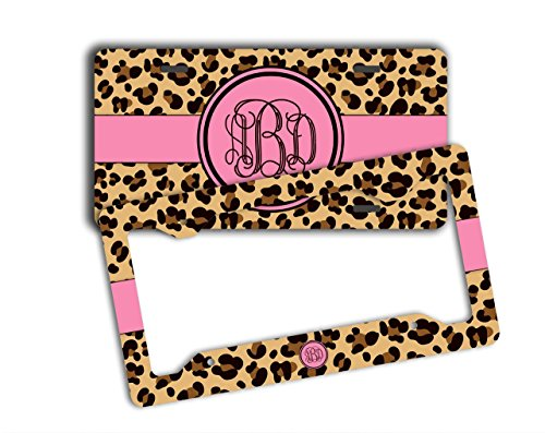 Monogrammed license plate and frame - Cheetah print with hot pink and your monogram - Personalized car tag front license plate [SET] (License Plate Frame Cheetah Print compare prices)