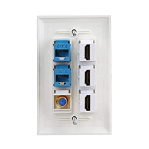 3 HDMI Keystone Wall Plate,IQIAN 2 - Cat6 Ethernet 1 - Coax Cable TV F Type Port HDMI 2.0 Decorative Female to Female . (Color: new-bb-1, Tamaño: new-bb-1)
