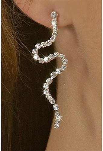 Curvy Snake Design Quality Bling Long Earrings with Ton of Clear Rhinestones (Snake Tail Ring compare prices)