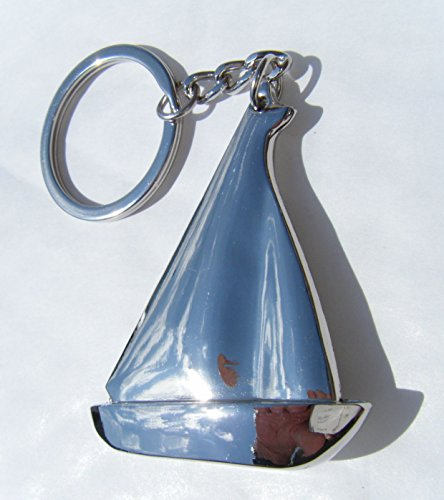 Chrome-Metal-Sailing-Boat-Keyring-Chrome-Yacht-Key-Chain-Gift-Boxed