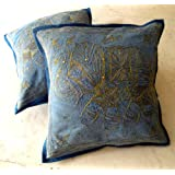 2 Indian Handmade Sequin Embroidery Traditional Blue Elephant Throw Pillow Cases Cushion Covers