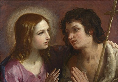 Oil Painting 'Guido Reni Christ Embracing Saint John The Baptist ' Printing On Perfect Effect Canvas , 20 X 29 Inch / 51 X 73 Cm ,the Best Gift For Girl Friend And Boy Friend And Home Decor And Gifts Is This Cheap But High Quality Art Decorative Art Decorative Canvas Prints