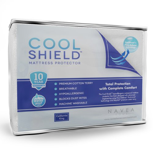 Cool Shield No Allergy Waterproof Mattress Protector - Breathable Terry Cover Protects Against Dust Mites, Allergens, Bacteria, Mold And Fluids - See Reviews - Machine Washable Mattress Protector - Best 10-Yr Guarantee - Size: California King (72 In X 84