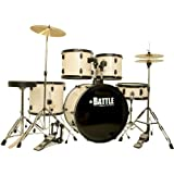 White Pearl Drum Set Full Adult Size with Cymbals Stool Sticks Stand 5 Piece Kit