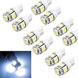 Suppion 10pcs T10 Wedge 5-SMD 5050 Xenon LED Light bulbs 192 168 194 W5W 2825 158 White