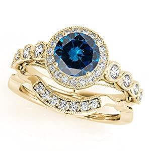 1.40 Ct. Ttw Halo Blue Diamond Bridal Set In 14k Yellow Gold