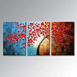 Everfun Art Large Handmade Palette Knife Oil Painting Modern Wall Art Absctract Canvas Hanging Tree Decoration Framed Ready to Hang 60\