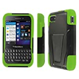Empire Mpero Collection Tough Armor Kickstand Case for BlackBerry Q5 - Black/Neon Green