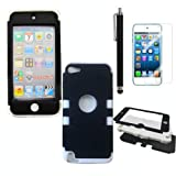APT® High Impact Heavy Duty Two Tone Hard and Soft Hybrid Rugged Armor Sports Combo Case for Apple iPod Touch 5 5th Generation (Black& White, Ipod touch 5)