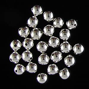 25 9mm silver plated smooth round beads