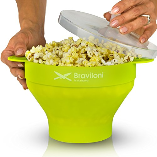 Popcorn Maker - Microwave Popcorn Popper - FDA approved BPA Free Silicone Bowl with Lid - Cook Popcorn at Home Quick